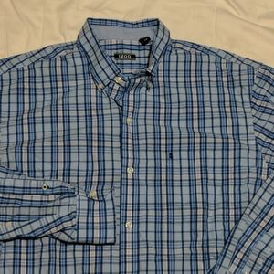 Izod Large Button Front Long Sleeve Blue Check